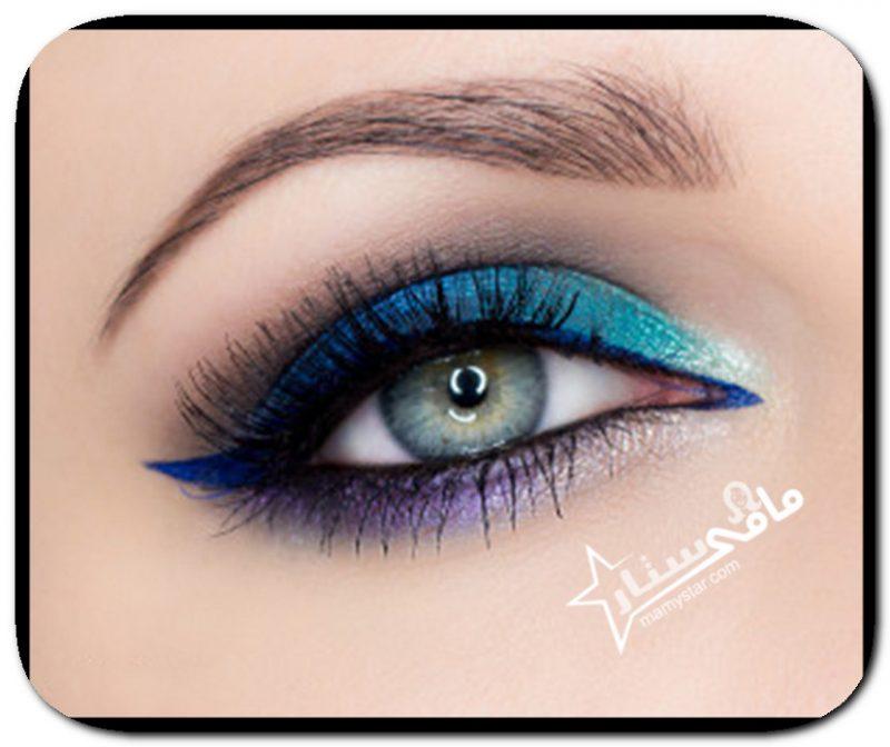مكياج عيون باللون الازرق