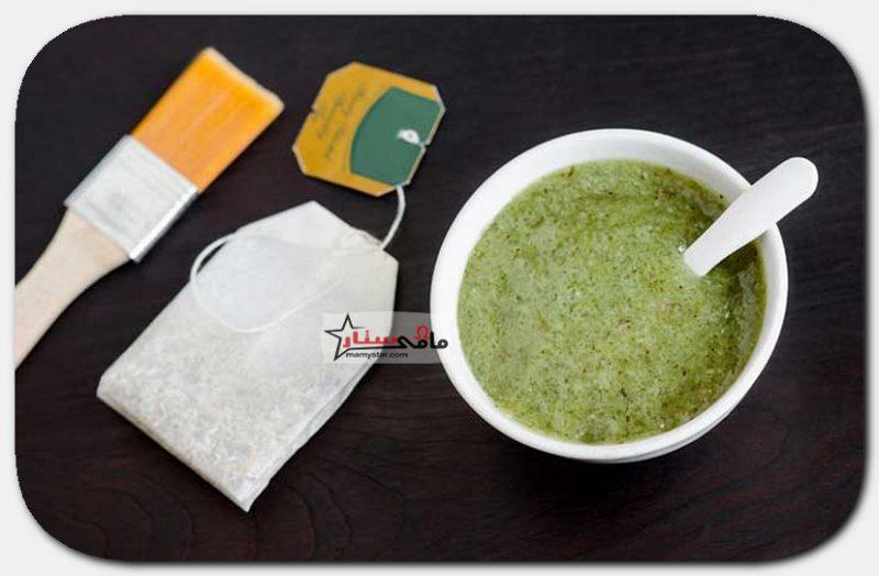 قناع الطين بالشاي الأخضر