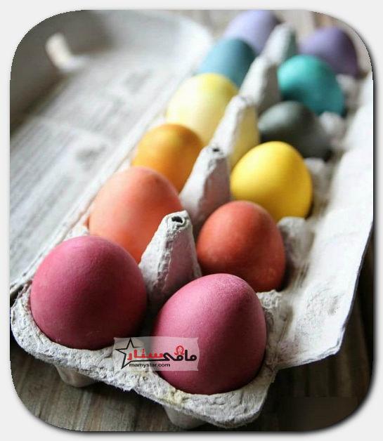 تلوين بيض شم النسيم بمواد طبيعية