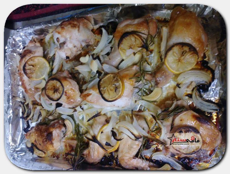 طريقة عمل الدجاج المشوي بالليمون والروزماري