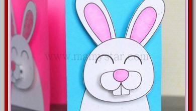 طريقة عمل بطاقة ارنب لعيد الفصح بالورق