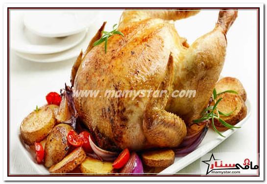 طريقة عمل الدجاج المشوي مع الخضار
